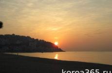 Рассветы и закаты на пляже Хэундэ 해운대 해수욕장